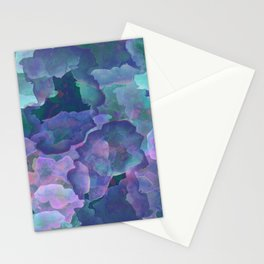 Blue and teal abstract watercolor Stationery Cards