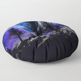 NEBULA STARS MOON BLACK TREES MOUNTAINS VIOLET BLUE Floor Pillow