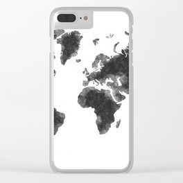 World Map Black Sketch, Map Of The World, Wall Art Poster, Wall Decal, Earth Atlas, Geography Map Clear iPhone Case