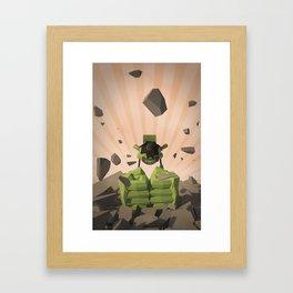 Green-Bot Smash Framed Art Print
