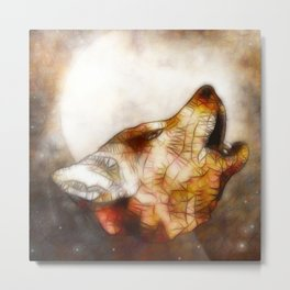 abstract howling wolf Metal Print