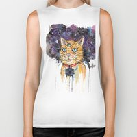 space cat Biker Tanks featuring Space Cat by scoobtoobins