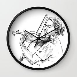 Violinist plays music Wall Clock