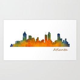 Atlanta City Skyline watercolor Hq v1 Art Print