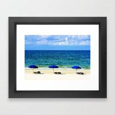 Beach Umbrella Trio Framed Art Print