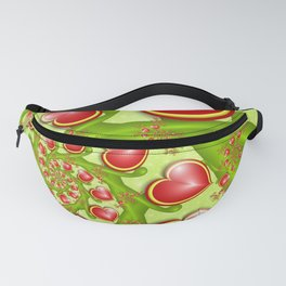 Red Hearts On Green Shapes, Modern Fractal Art Fanny Pack