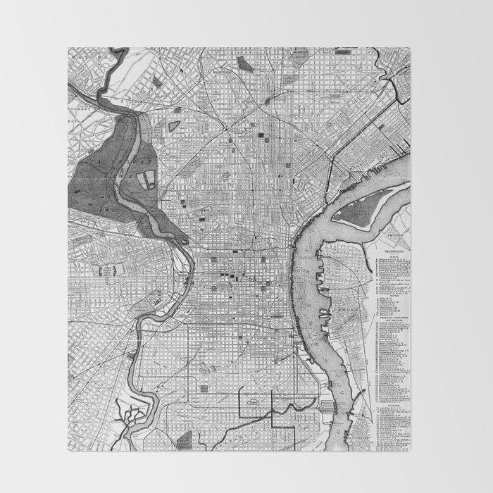 Vintage Map of Philadelphia PA (1895) BW Throw Blanket