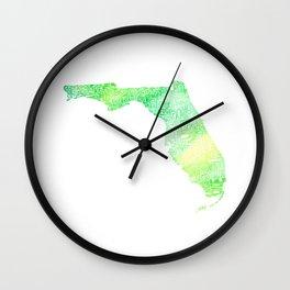 Typographic Florida - green watercolor Wall Clock