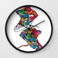 sneakers Wall Clocks featuring Paint sneakers by Cindys