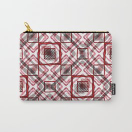 Red - white geometric pattern. Carry-All Pouch