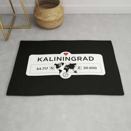 Kaliningrad - Russia - with World Map and GPS Coordinates Rug