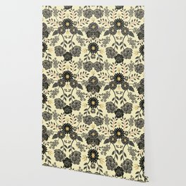 Gray, Black, Cream, Yellow & Red Sophisticated Floral Pattern Wallpaper