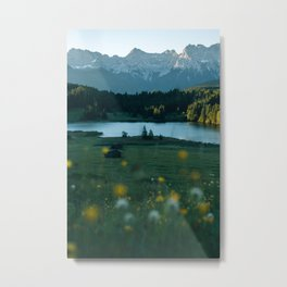 Sunrise at a mountain lake with forest - Landscape Photography Metal Print