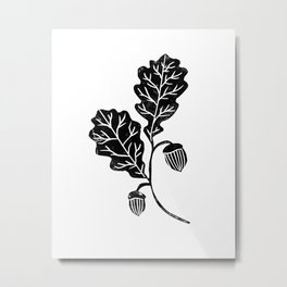 Oak Leaf linocut black and white lino illustration printmaking fall autumn winter home decor minimal Metal Print