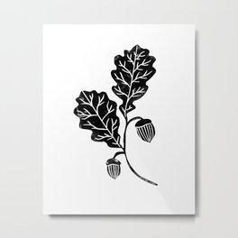 Oak Leaf linocut black and white lino illustration printmaking fall autumn winter home decor minimal Metal Print