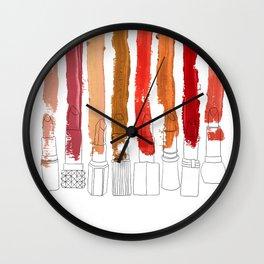 Lipstick Stripes - Red Orange Gold Wall Clock
