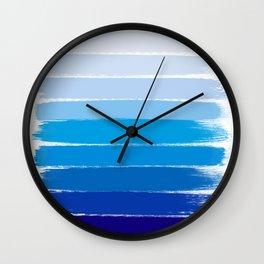 Kent - blue ombre brush strokes art Wall Clock