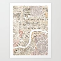 london map Art Prints featuring London map by Mapsland