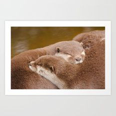 Otterly In Love Art Print
