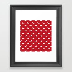 Dachshund pattern minimal red and white dog lover home decor gifts accessories silhouette Framed Art Print