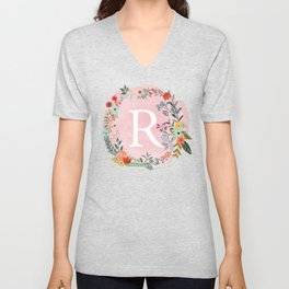 Flower Wreath with Personalized Monogram Initial Letter R on Pink Watercolor Paper Texture Artwork Unisex V-Neck
