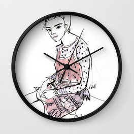 Lolita in a sheer pink polka dot dress  Wall Clock