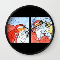 santa Wall Clocks featuring Santa by Bakal Evgeny