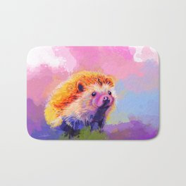 Sweet Hedgehog, cute pink and purple animal painting Bath Mat
