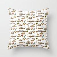 sydney Throw Pillows featuring Sydney by Jess Stewart-Croker