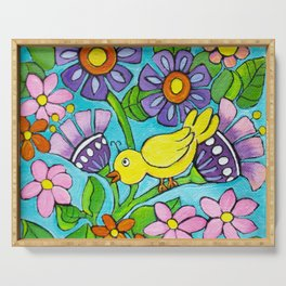 Springtime Series #5 Singing Bird Serving Tray