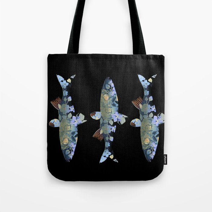 Flowery fish Tote Bag