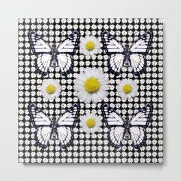 BLACK-WHITE DAISIES & MONARCH BUTTERFLIES ART Metal Print