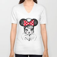 minnie V-neck T-shirts featuring Minnie by theavengerbutterfly
