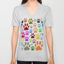 Dog Paw Prints All Over Unisex V-Neck