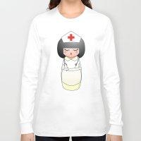 nurse Long Sleeve T-shirts featuring Kokeshi Nurse by Pendientera