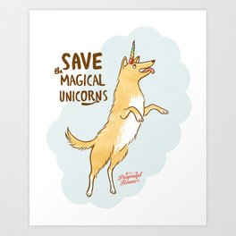 Save The Magical Unicorns by Alice Rutherford Art Print