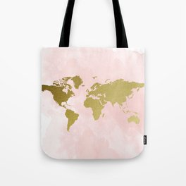 Gold World Map Poster Tote Bag