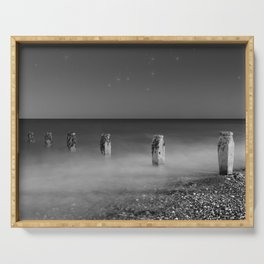 Constellation Scorpio Beach Seascape night sky with stars black and white photography by Sage Solar Serving Tray