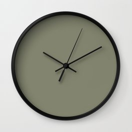 Mid-tone Sage Solid Color Pantone Oil Green 17-0115 Accent to Color of the Year 2021 Wall Clock