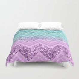 Mermaid Glitter Chevron #1 #shiny #decor #art #society6 Duvet Cover