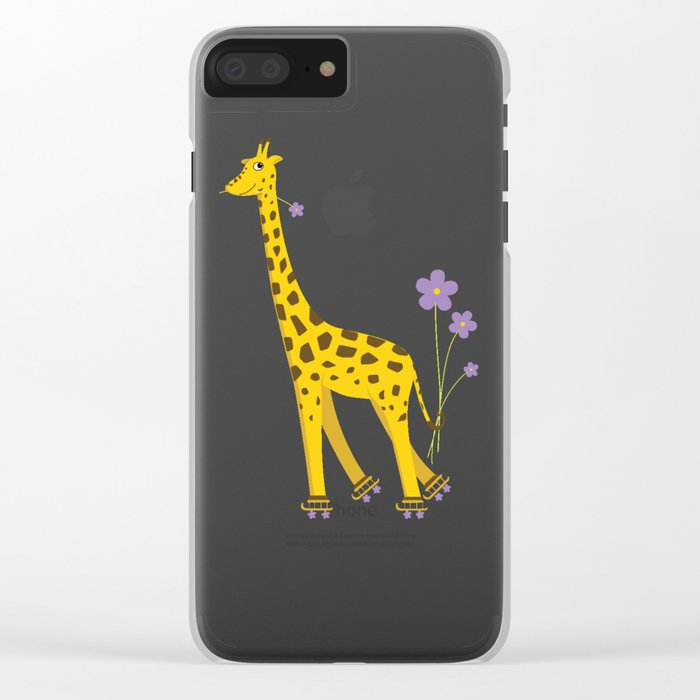 Yellow Funny Roller Skating Giraffe Clear iPhone Case