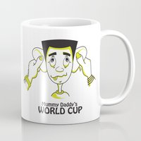 world cup Mugs featuring Mummy Daddy's World cup by Jyoti Khetan