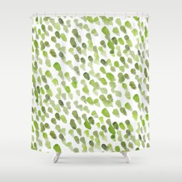 Imperfect brush strokes - olive green Shower Curtain