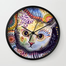Lucy ... Abstract cat pet animal art Wall Clock