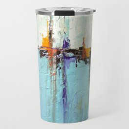 "Abstract White and Blue Painting – Textured Art – ""Sailing""  Travel Mug"