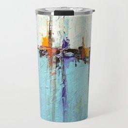 "Abstract White and Blue Painting – Textured Art – ""Sailing""  Travel Mug"