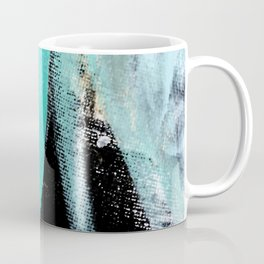 Fairy Dreams: an abstract mixed media piece in black, white, teal, and gold Coffee Mug