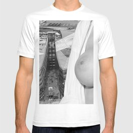 Enjoying the views. Nude woman over the city of London T-shirt