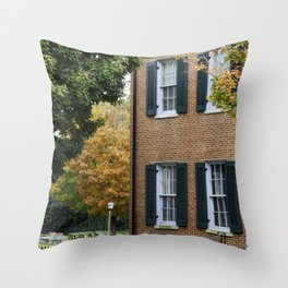Brick house with Fall leaves Throw Pillow