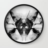 dark side of the moon Wall Clocks featuring Dark Side by Alexis Marcou